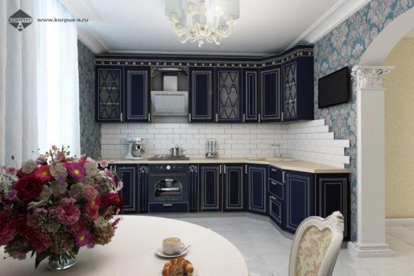 Кухня с Фасадами из МДФ Эмаль классика